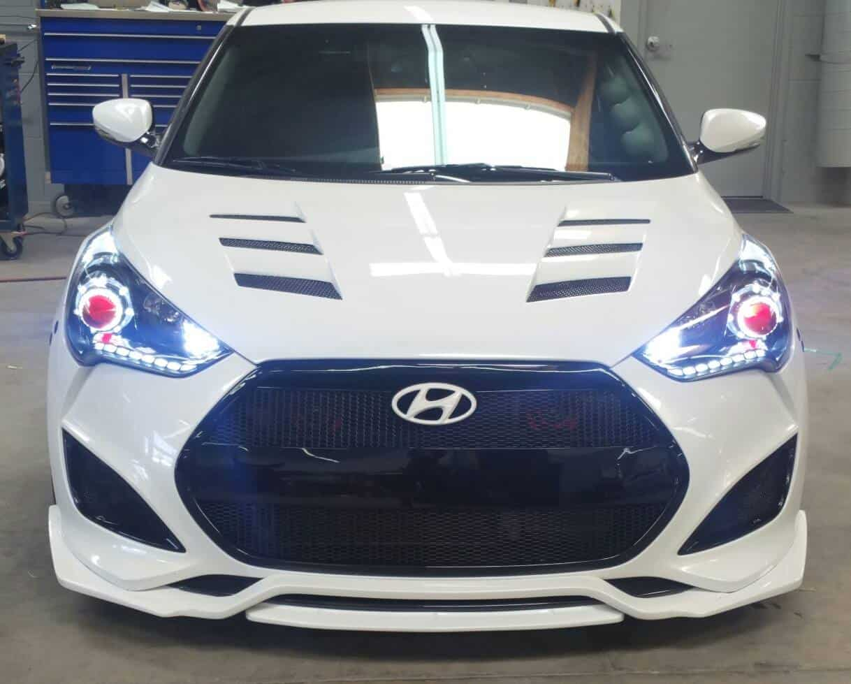 Veloster Kdm Headlights With White Reflector Pair With