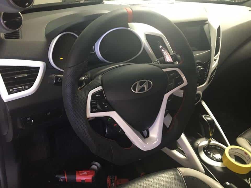 veloster turbo  nav carbon fiber custom steering wheel socal garage works